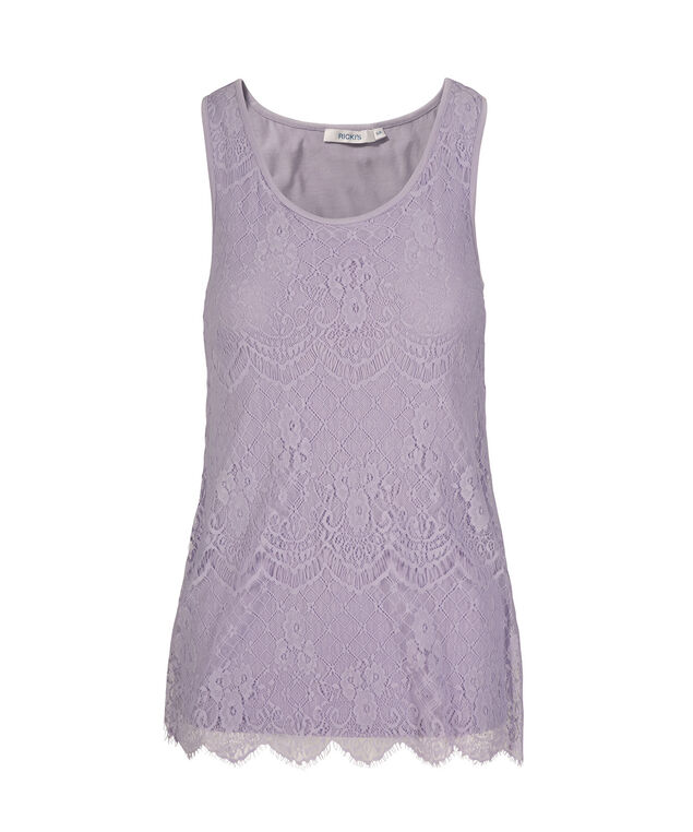 Sleeveless Textured Lace Overlay Top, Lavender, hi-res