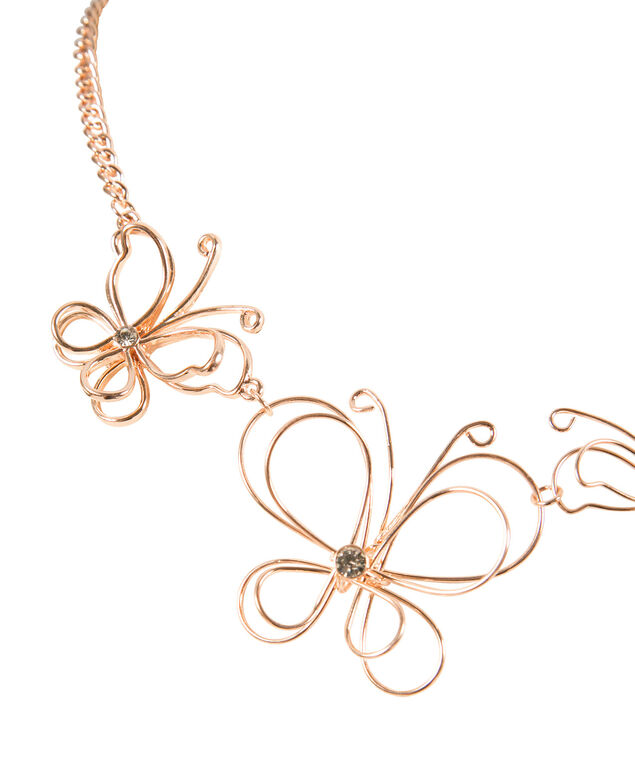Wire Butterfly Statement Necklace, Rose Gold, hi-res