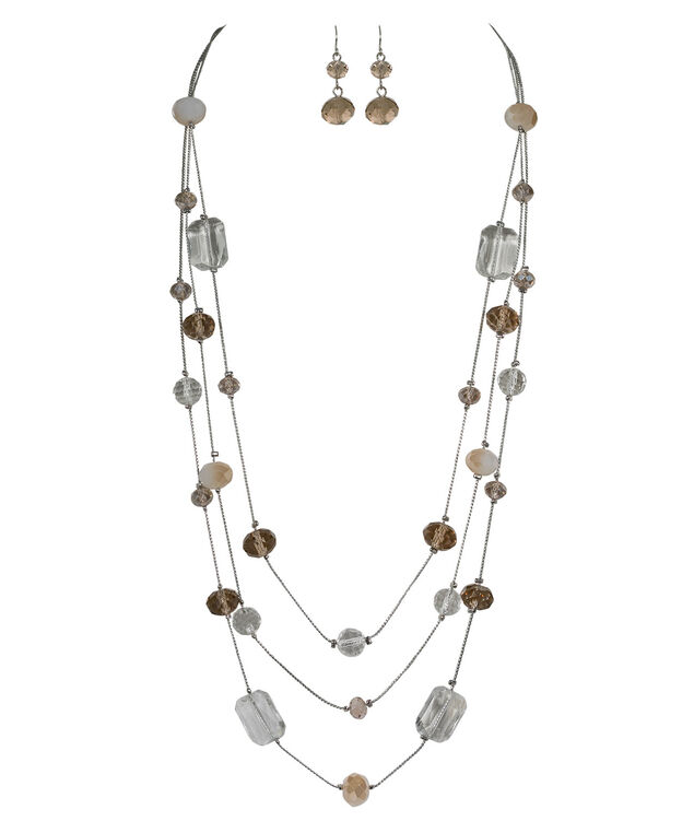 Stationed Faceted Taupe Stone Necklace Set, Taupe/Clear/Rhodium, hi-res