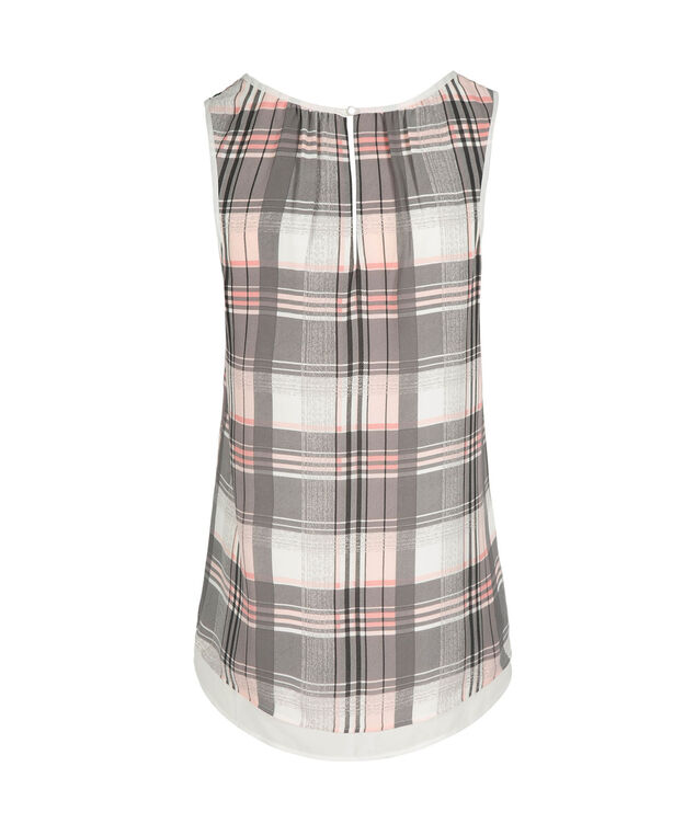 Double Layer Sleeveless Blouse, Grey/Pink/White Plaid, hi-res