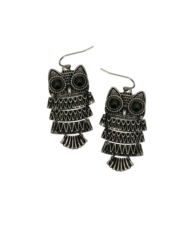 Painted Owl Drop Earring, Black/Rhodium, hi-res