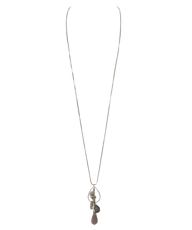 Crystal Cluster Pendant Necklace, Clear/Rhodium, hi-res