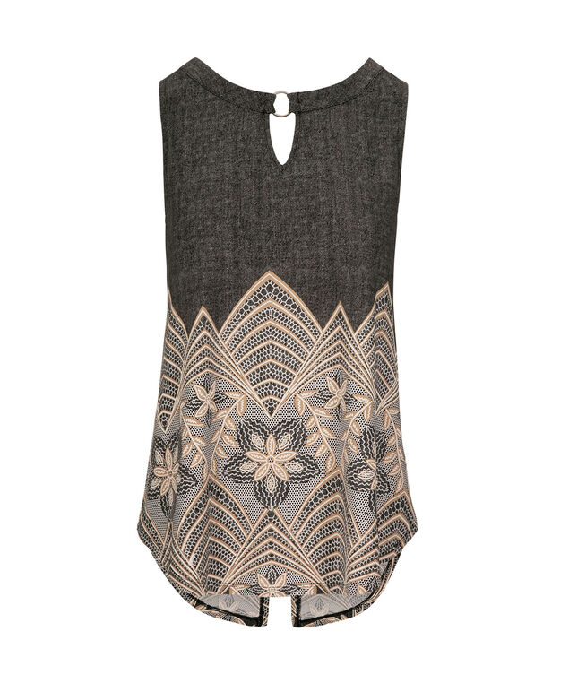 Keyhole Puff Print Sleeveless Top, Black/Almond/Milkshake, hi-res
