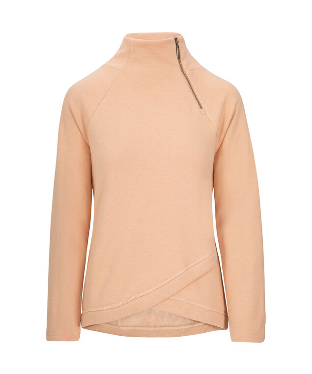 Criss-Cross Funnel Neck Pullover, Apricot, hi-res