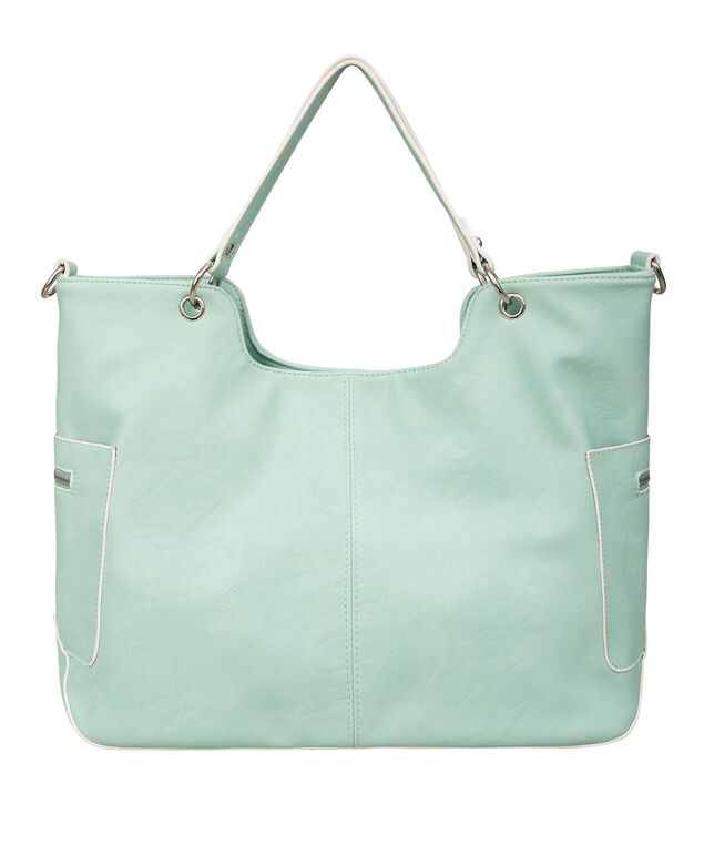 Double Zip Slouch Tote Bag, Spearmint/Nickel, hi-res