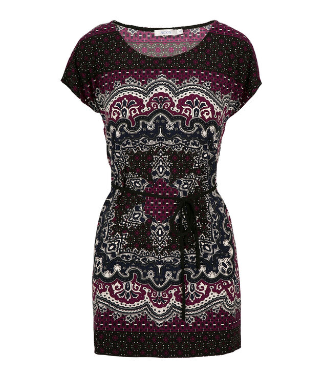 Extended Sleeve Tunic, Plum Print, hi-res