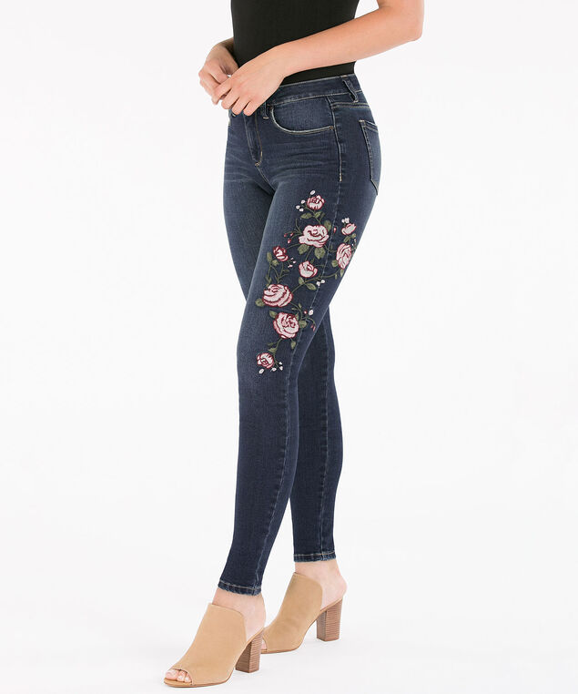 Embroidered Mid Wash Jegging, Mid wash, hi-res