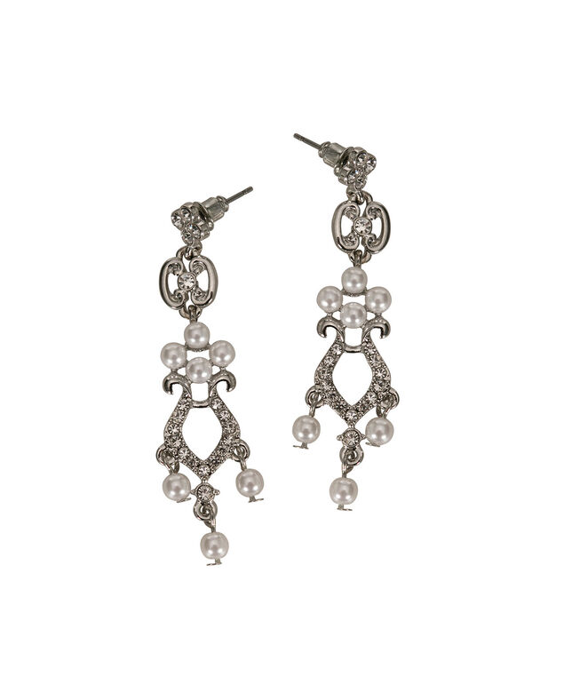 Pearl & Crystal Chandelier Earring, White/Clear/Rhodium, hi-res
