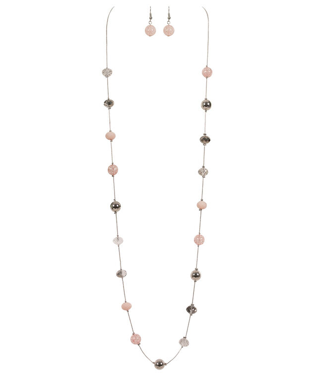 Stationed Bead & Stone Necklace Set, Rosewater/Clear/Rhodium, hi-res