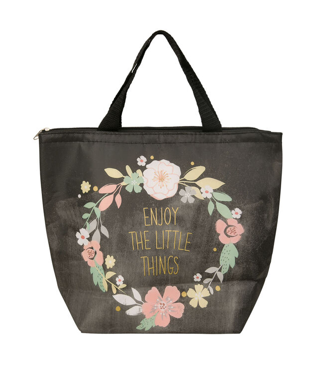 """""""Enjoy The Little Things"""" Insulated Lunch Tote, Black/Yellow/Peach/Green, hi-res"""