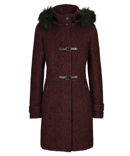 Toggle Boucle Coat, Burgundy/Black, hi-res