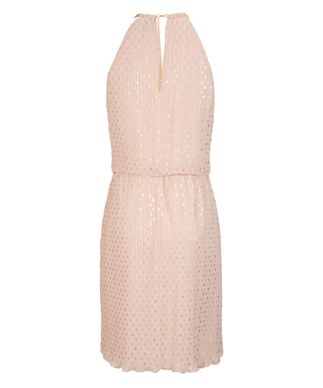 Pleated Chain-Neck Halter Dress, Blush/Gold Dot, hi-res