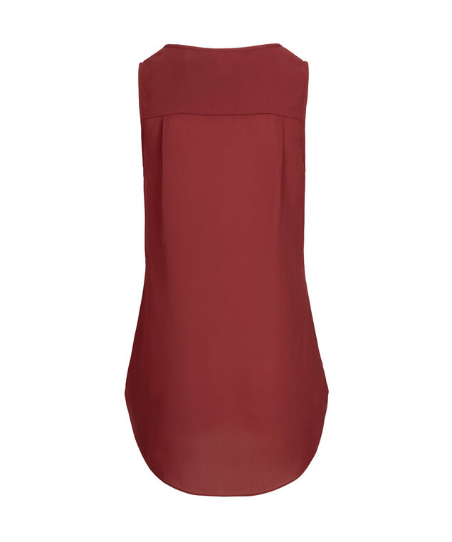 Sleeveless Henley Tunic Blouse, Ruby, hi-res