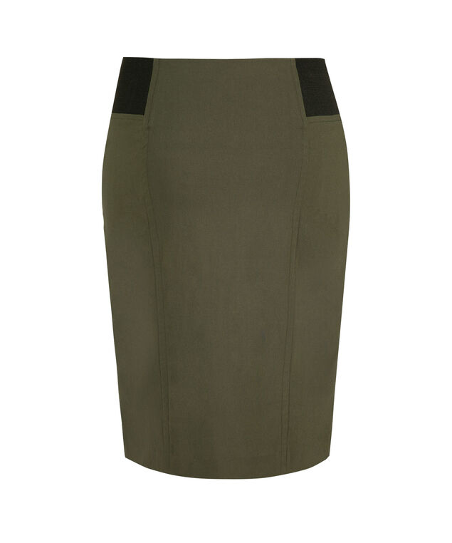 Microtwill Elastic Detail Pencil Skirt, Dark Olive, hi-res