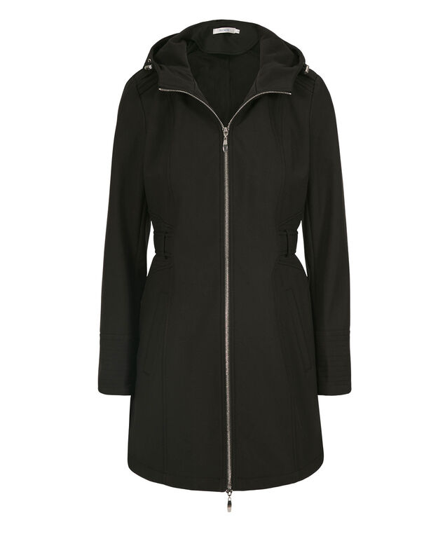 Tab Back Detail Hooded Soft-Shell Jacket, Black, hi-res