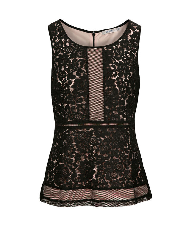 Lace Overlay Peplum Top, Black/Pale Pink, hi-res