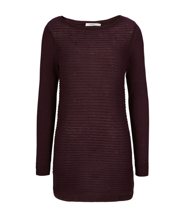 Sparkle Tunic Sweater, Wineberry, hi-res