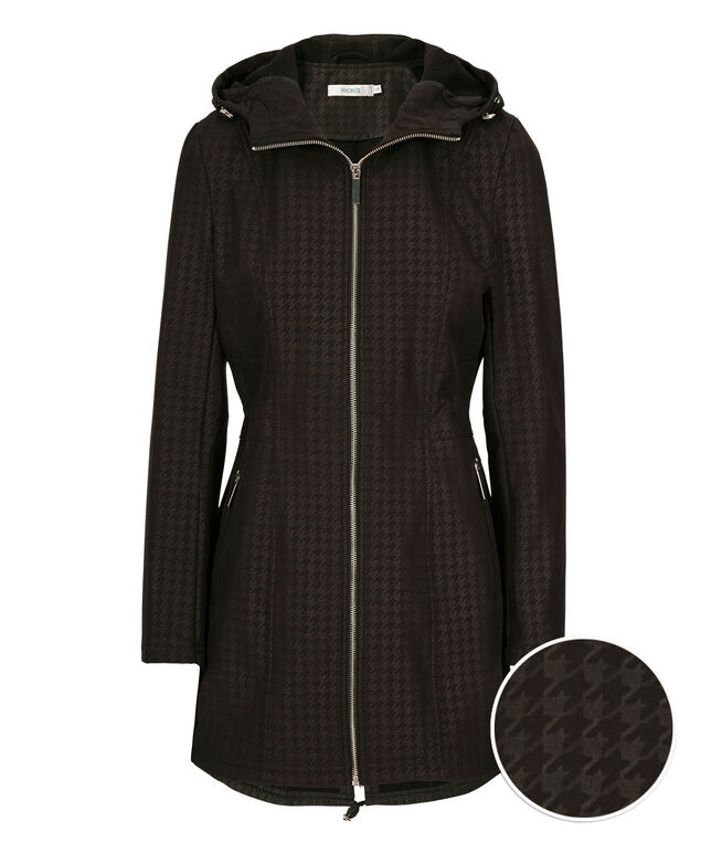 Embossed Houndstooth Soft Shell Jacket, Black Pattern, hi-res