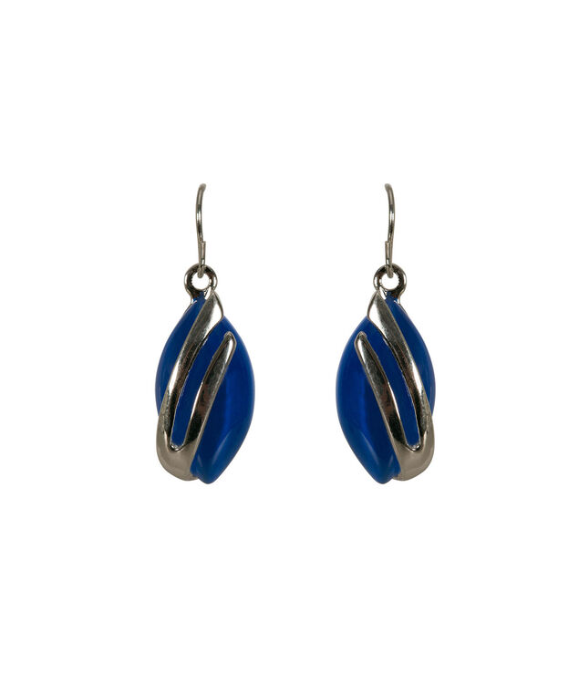 Leaf Shaped Cateye Earring, Blue/Rhodium, hi-res
