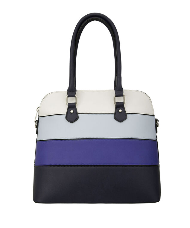 Blue Colourblock Satchel Bag, Blue/White/Nickel, hi-res