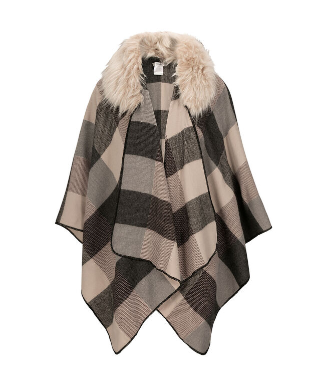 Plaid Ruana With Removeable Collar, Camel/Black/Amethyst, hi-res