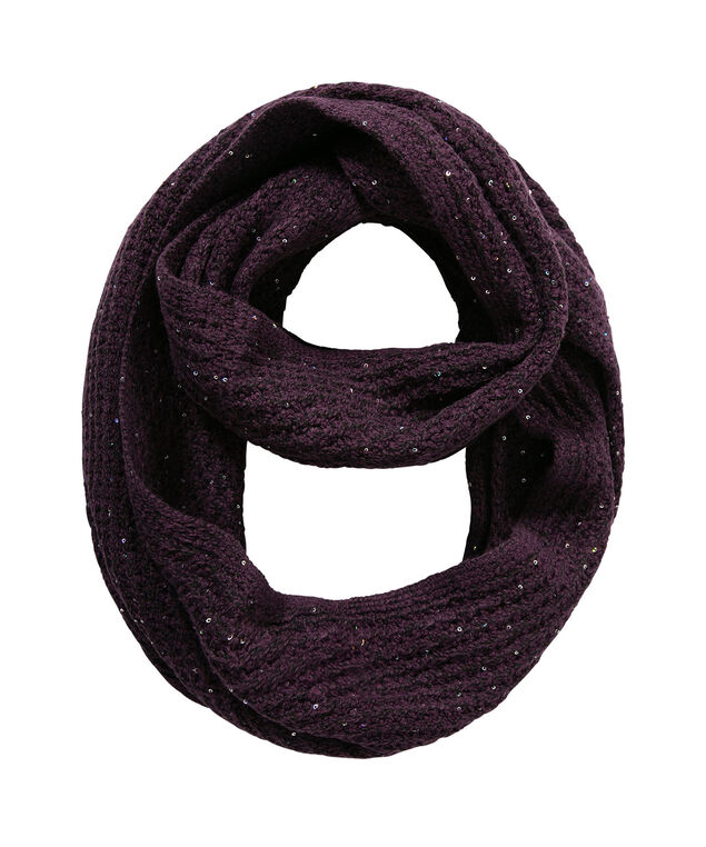 Sequined Knit Eternity Scarf, Blackberry, hi-res