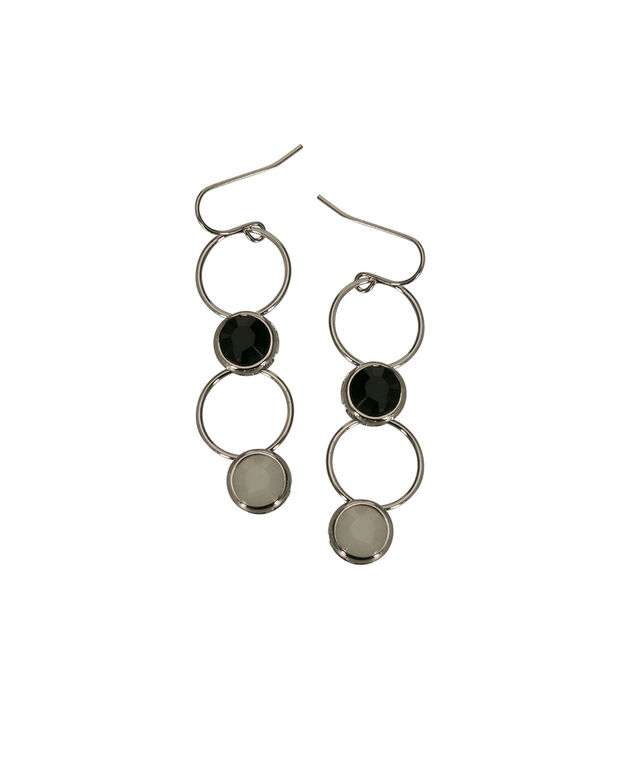 Stone & O-Ring Drop Earring, Black/Milkshake/Rhodium, hi-res