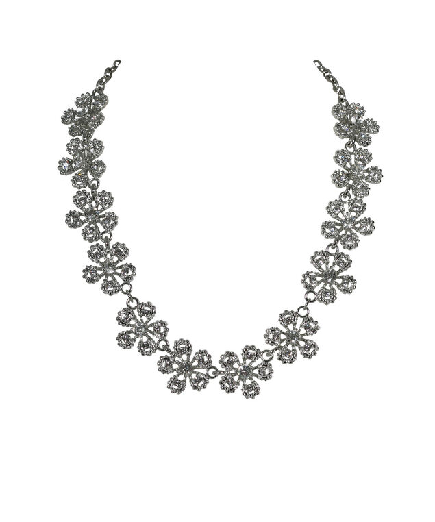 Crystal Flower Statement Necklace, Clear/Rhodium, hi-res