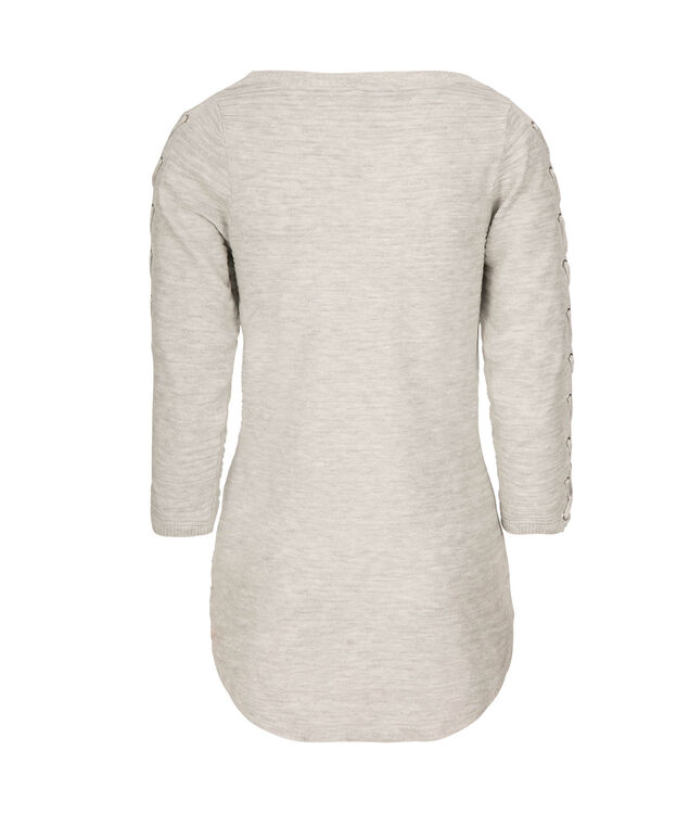 Lace-Up Sleeve Pullover, Light Grey, hi-res