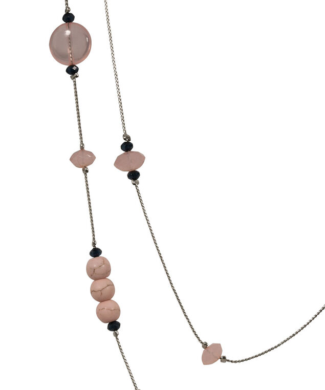 TWO ROW NECKLACE, Peach Blossom/Sapphire/Brushed Silver, hi-res