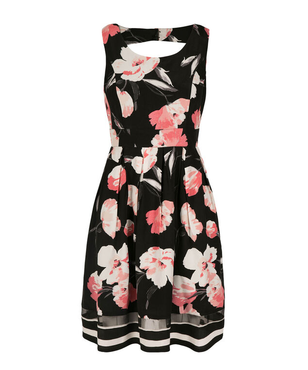 Floral Open Back Dress, Black Print, hi-res