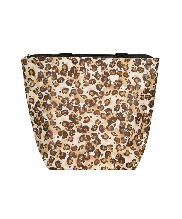 Leopard Print Insulated Lunch Tote, Brown/Gold, hi-res