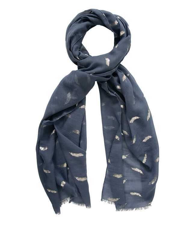 Feather Print Oblong Scarf, Lake Blue/Silver, hi-res
