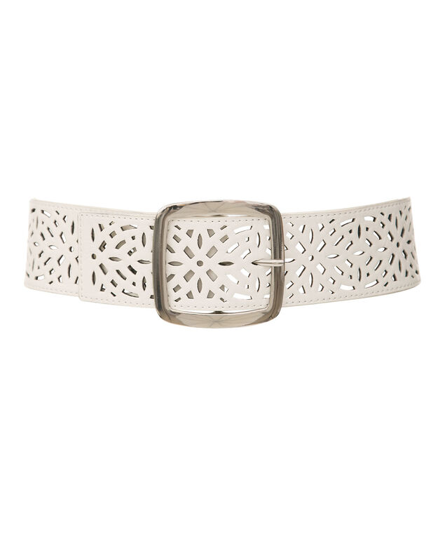 Perforated Faux Leather Stretch Belt, White/Nickel, hi-res