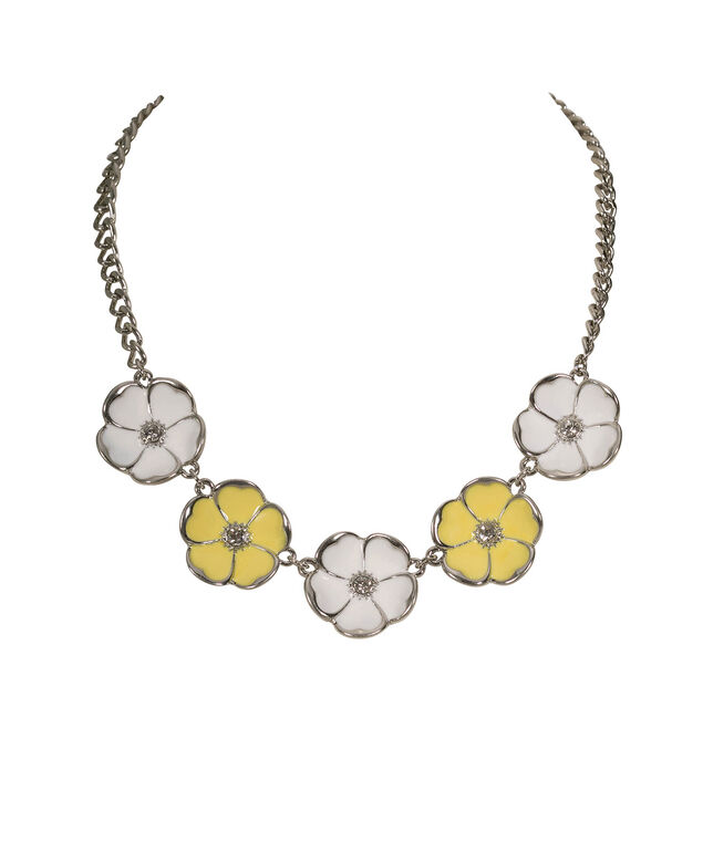 Painted Flower Statement Necklace, Yellow/White/Rhodium, hi-res