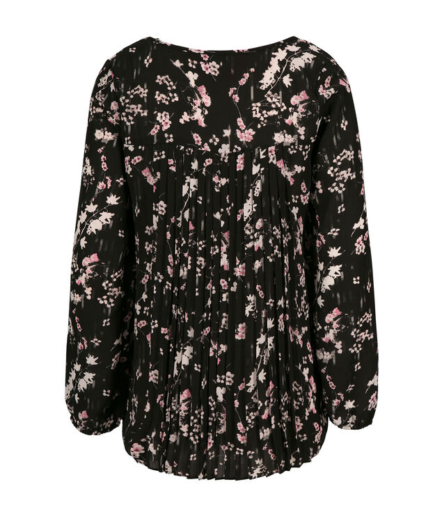 Pleat Back Blouse, Black Print, hi-res