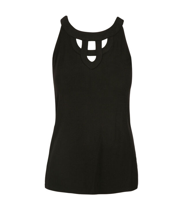 Cut-Out Halter Style Top, Black, hi-res