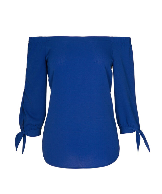 Tie Sleeve Convertible Blouse, Blue, hi-res