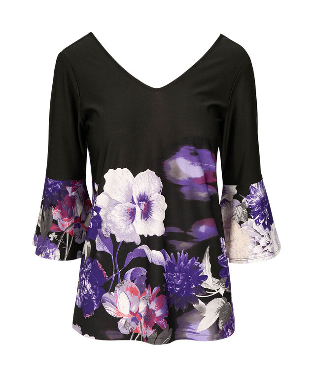 Bell Sleeve Double V Top, Black/Iris/Iced Violet, hi-res