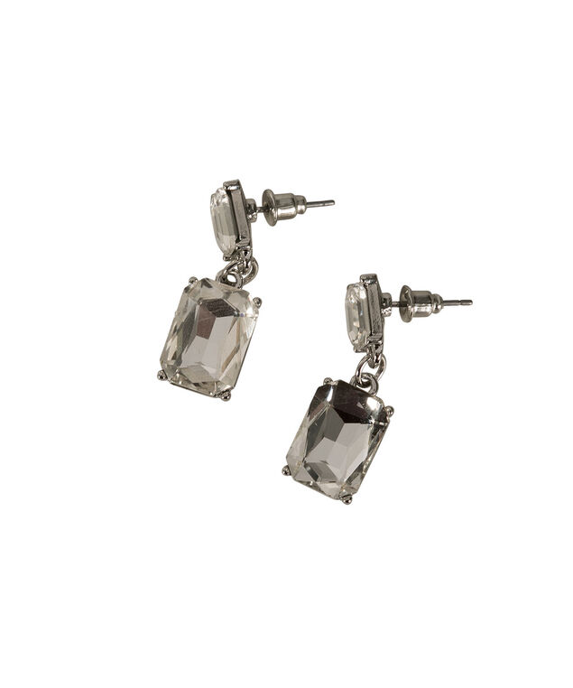 CRYSTAL SQUARE STONE EARRING, Rhodium, hi-res