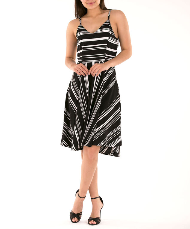 Strappy Striped Fit & Flare Dress, Black/White, hi-res