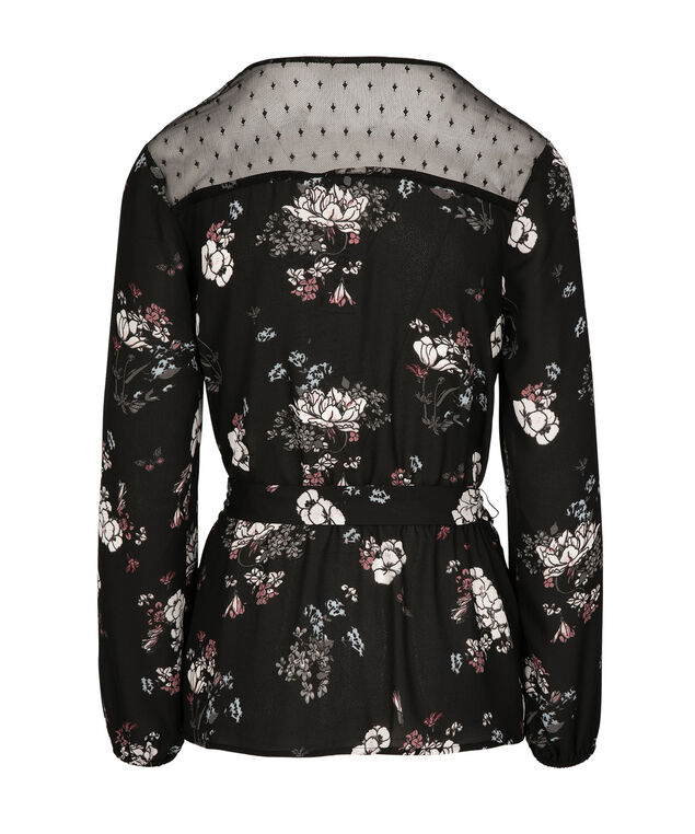 Lace Trim Wrap Blouse, Black Floral, hi-res