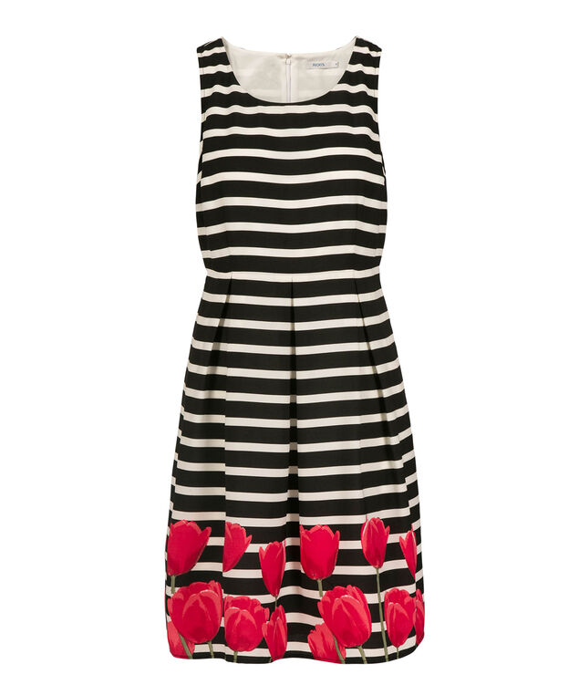 Striped Tulip Fit & Flare Dress, White/Black/Red, hi-res