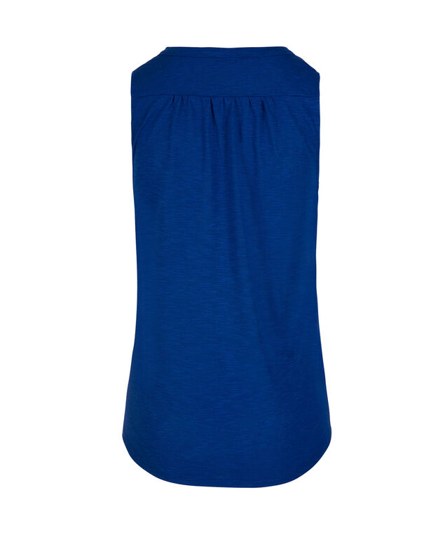 Sleeveless Henley Top, Blue, hi-res