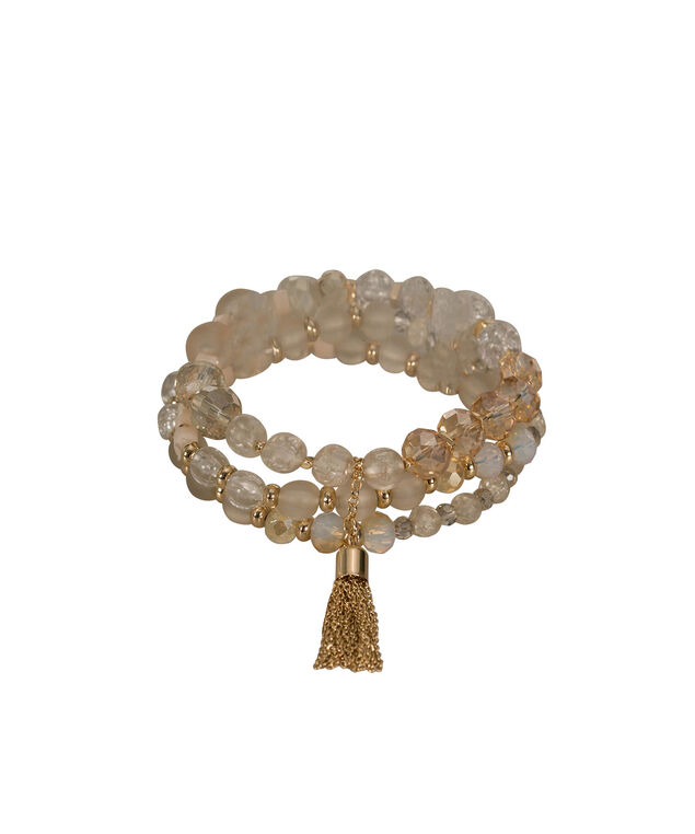 Multi-row Beaded Stretch Bracelet with Tassel, Clear/Ivory/Gold, hi-res