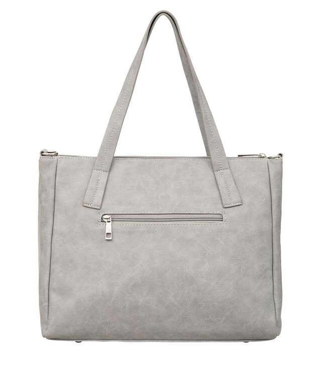 Soft Knotted-Strap Satchel, Light Grey/Nickel, hi-res