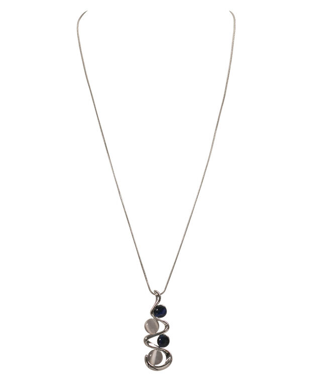 Swirl Stacked Cateye Pendant Necklace, Deep Sapphire/Grey/Rhodium, hi-res