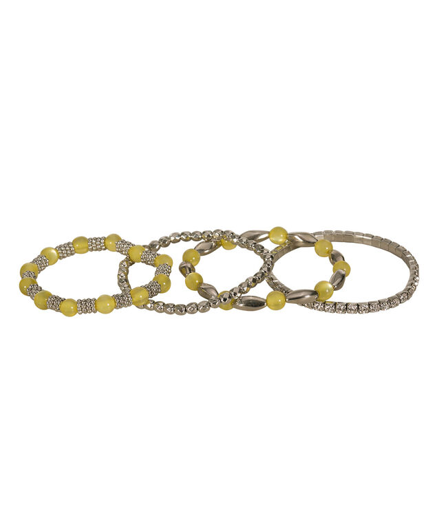 Yellow Opalescent & Crystal Stretch Bracelet Set, Yellow/Rhodium, hi-res