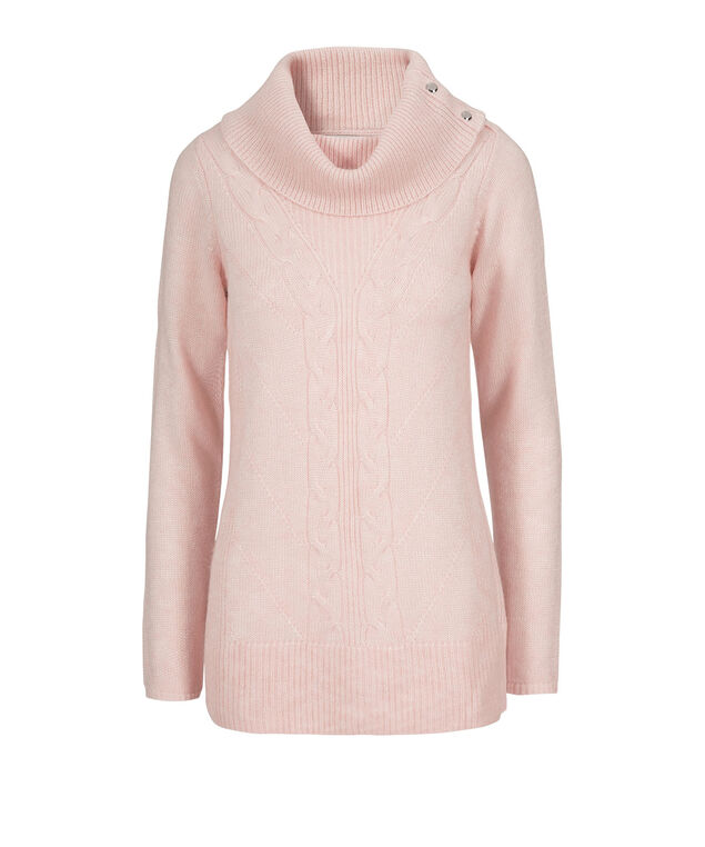 Cable Knit Cowl Neck Pullover, Blush, hi-res