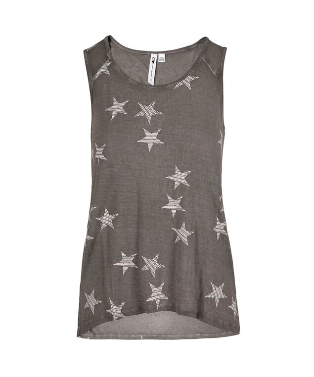 Star Print Athleisure  Tank, Charcoal, hi-res